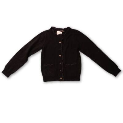 128-134-es fekete vékonyabb kötött fodros kardigán - Terranova