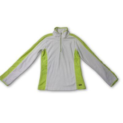152-es fehér-zöld polár lány pulóver