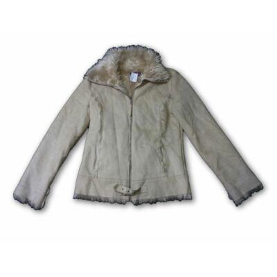Női L-es szőrmével bélelt drapp kabát - Denim CO