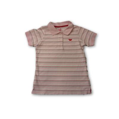 134-140-es csíkos galléros piké póló lánynak - TCM