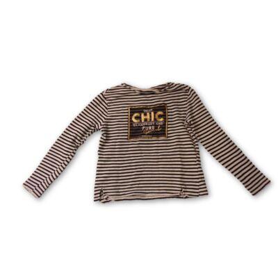 152-158-as csíkos lány pulóver arany felirattal
