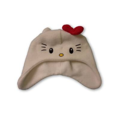 48-52 cm-es fejre fehér polár sapka - Hello Kitty