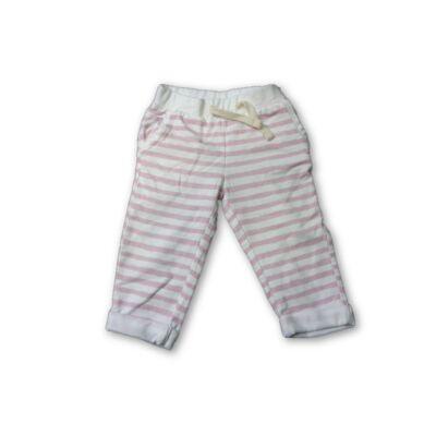 74-80-as rózsaszín-fehér csíkos pamut  nadrág - Impidimpi