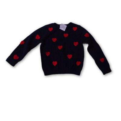 98-104-es sötétkék szivecskés pulóver - H&M