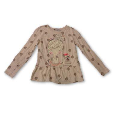 140-146-os pöttyös kislányos drapp pamutfelső - George