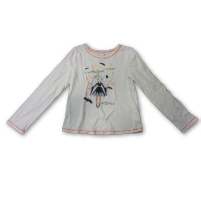 128-as fehér kislányos pamutfelső (Halloween)