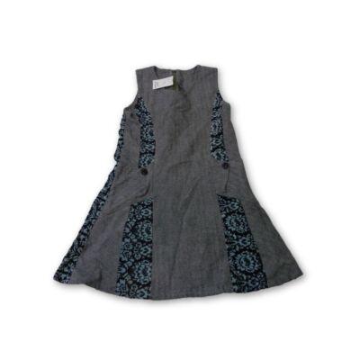 116-os szürke szövet jellegű ruha bársony betétekkel