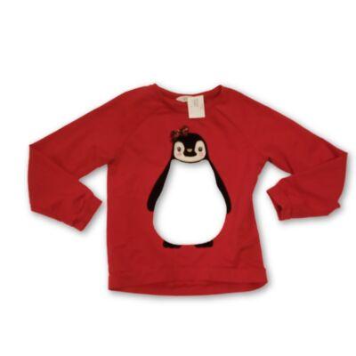 134-140-es piros pingvines pulóver lánynak - H&M