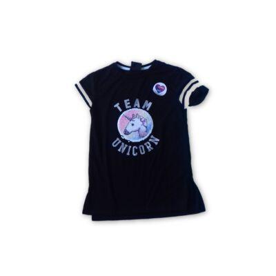 128-as fekete átfordítható flitteres unikornisos póló - Primark - ÚJ