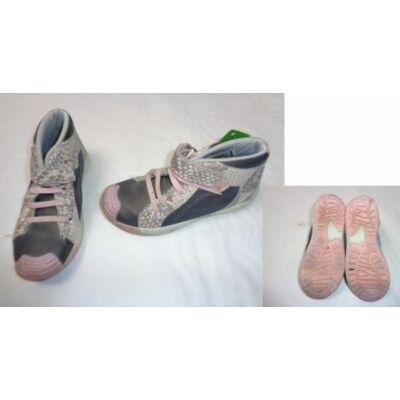 27-es szürke-rózsaszín magasszárú cipő