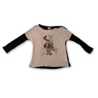 146-152-es fekete-fehér lányos pamutfelső - Pepco