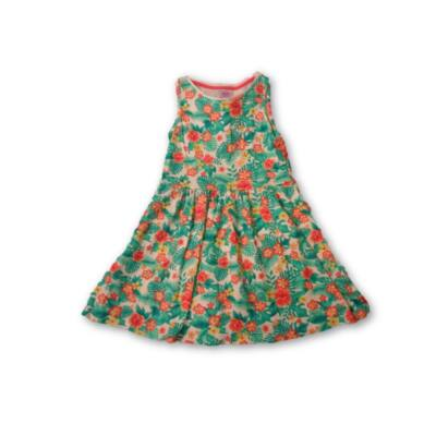122-es zöld leveles-virágos pamut ruha - F&F