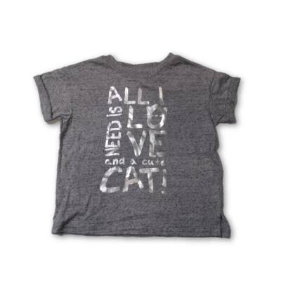 116-os szürke cicás feliratos póló - Kiki & Koko - ÚJ