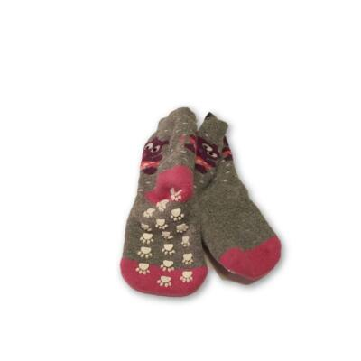 19-22-es tappancsos, csúszásgátlós szürke-pink zokni