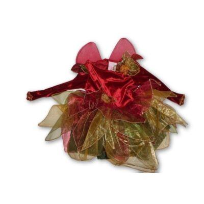 2 évesre bordó-zöld virág tündér jelmezruha - ÚJ