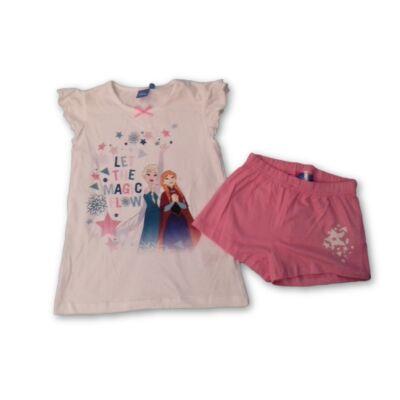 122-128-as fehér pizsama, nyári szett - Jégvarázs, Frozen - ÚJ