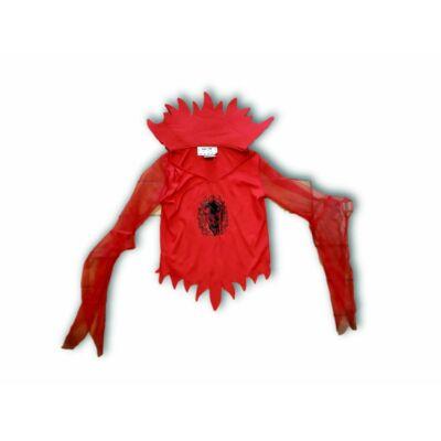 128-as piros ördög jelmezfelső tüllös ujjakkal