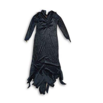 14-16 évesre fekete bársony boszorkányruha, jelmez