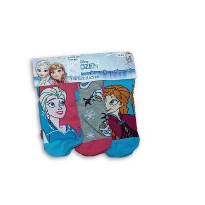 31-34-es lány zoknik, 3 db egyben - Frozen, Jégvarázs - ÚJ
