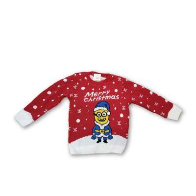 128-as unisex kötött karácsonyi pulóver - Minyonok