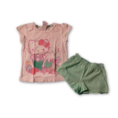 122-128-as fehér-zöld nyári pizsama - Hello Kitty