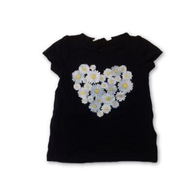 98-104-es fekete virágos pól - H&M