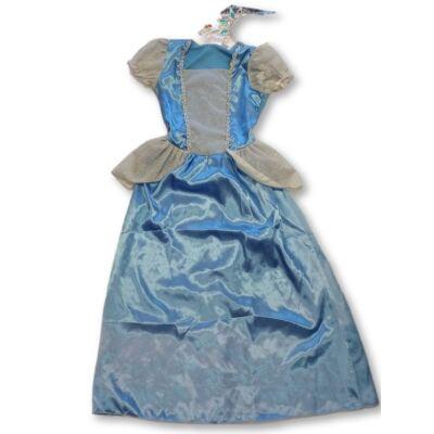 122-128-as kék hercegnőruha koronával - ÚJ