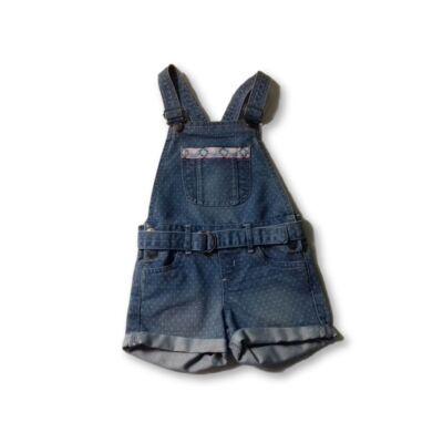 116-os kék pöttyös lány kantáros farmershort - Kiki & Koko - ÚJ