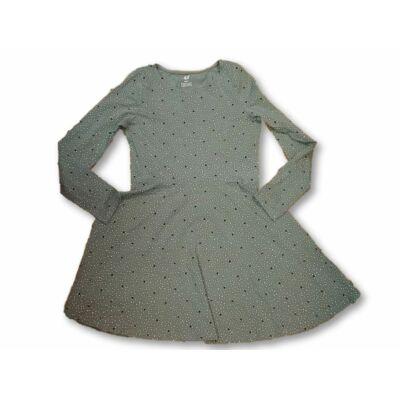 140-es zöld szivecskés-pöttyös pamutruha - H&M