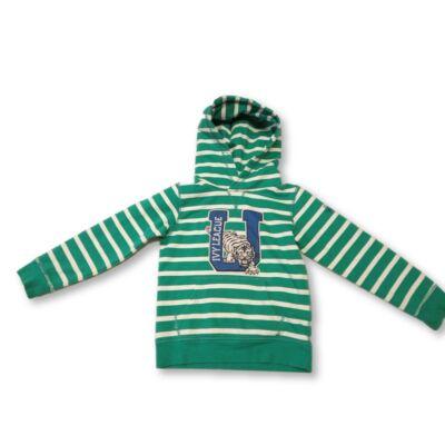 122-128-as zöld csíkos pamut pulóver - H&M