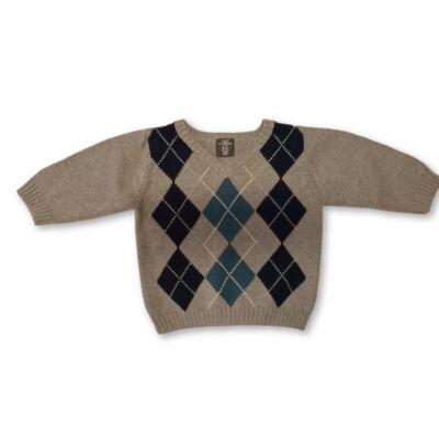80-as kárómintás szürke kötött pulóver - H&M