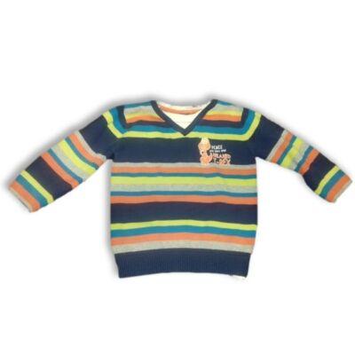 116-os színes csíkos fiú pulóver - Kiki & Koko