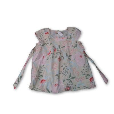140-es drapp-rózsaszín-zöld rövidujjú blúz - Marks & Spencer
