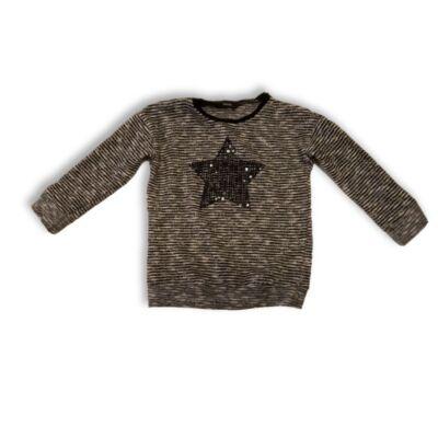 110-116-os fehér-fekete csillagos flitteres pulóver - George
