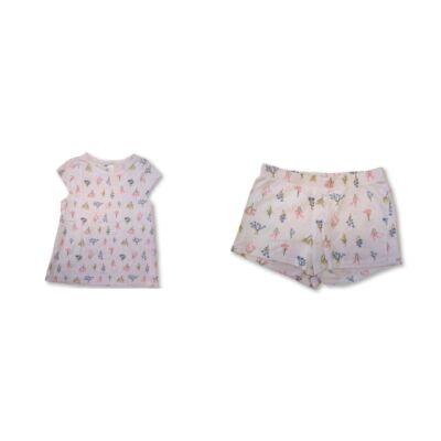 122-128-as fehér virágos nyári pizsama - H&M