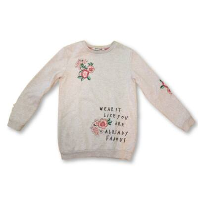 122-128-as világosszürke virágos pulóver - H&M