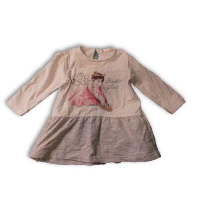 80-as fehér-szürke balerina-kislányos pamut ruha - Pepco