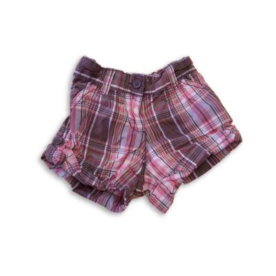 92-es barna-rózsaszín kockás lányvászon short - Okaidi