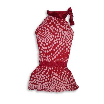 146-152-es piros pöttyös selyem ruha