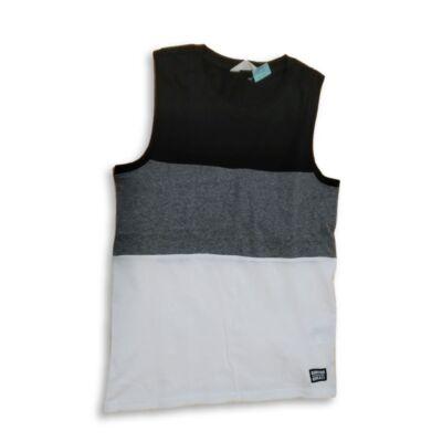 158-164-es fehér-fekete-szürke csíkos ujjatlan póló - H&M