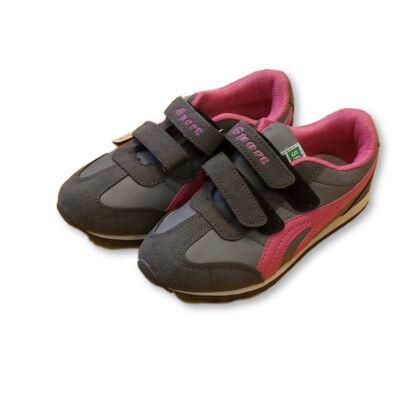 36-os szüre-pink tépőzáras sportos félcipő - ÚJ