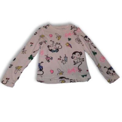 134-140-es fehér majmos lány pamut pulóver