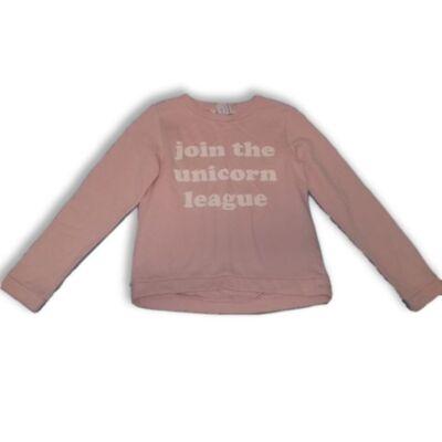 134-140-es rózsaszín feliratos pamut pulóver - H&M