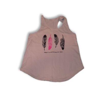 128-134-es rózsaszín tollmintás póló