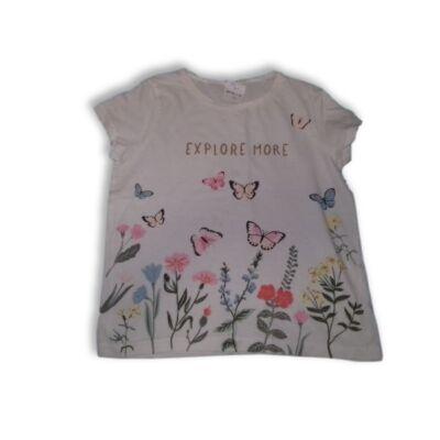 146-os fehér virágos pillangós póló