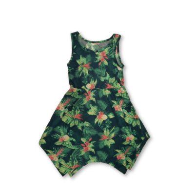134-140-es zöld virágos pamutruha