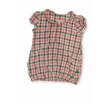 152-es rózsaszín-zöld kockás rövidujjú blúz - Marks & Spencer