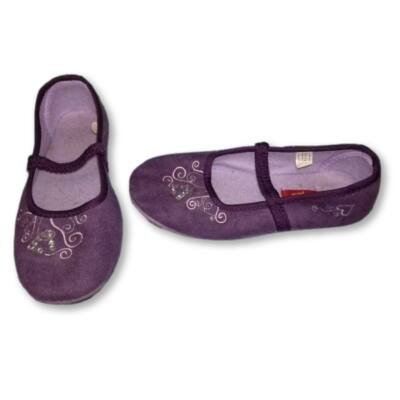 33-as lila straszköves plüss balerinacipő