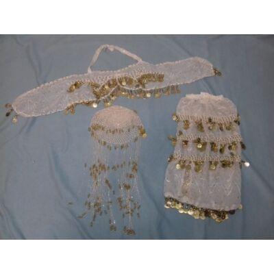 Fehér hastáncos ruha, 3 részes