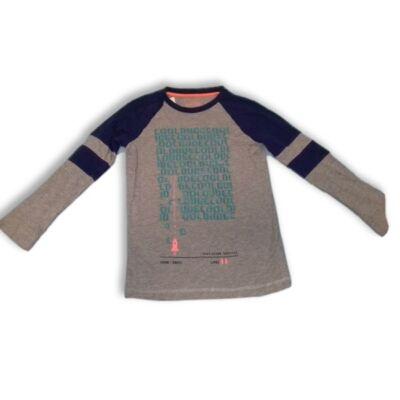 134-es szürke-kék feliratos pamutfelső - F&F